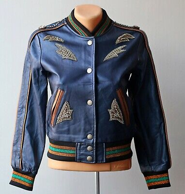 AU258.39 • Buy NWT Coach Embellished Metallic Blue Leather Biker Jacket Bomber Size 0 Studded