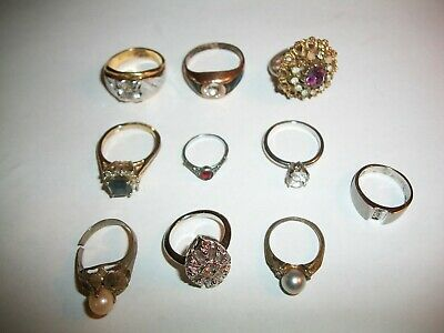 $ CDN8.12 • Buy Vintage Costume Jewelry - Lot Of 10 Mens / Womens Rings - LQQK!!!!