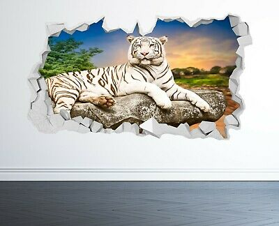 £14.99 • Buy White Tiger Wall Sticker 3d Look - Bedroom Lounge Nature Animal Wall Decal Z1185