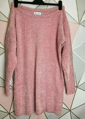 Pink Chenille Off The Shoulder Jumper Dress By Billie Faiers Size 10-12 NWT • 18£