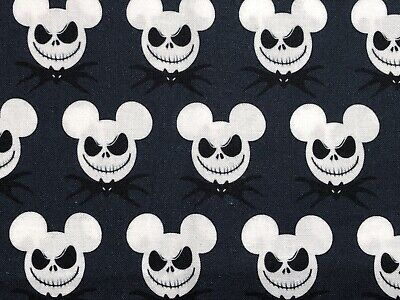 """Mickey And Jack Crossover Black Cotton Fabric 18"""" X 20"""" (1/4 Yard) • 6.36£"""