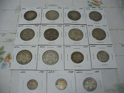 $ CDN269.99 • Buy Lot Of 15 1896-1941  Newfoundland Sterling Silver Coins Fifty Cent-10 Cent