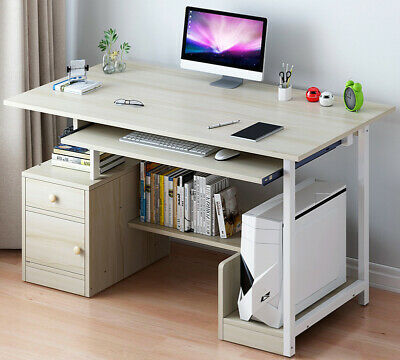 Compact Computer Desk With Drawer Cabinet PC Laptop Table Workstation Home New • 54.99£