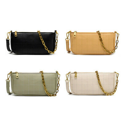 $ CDN18.20 • Buy Leather Underarm Messenger Bags Women Pure Color Chain Shoulder Handbags $S1