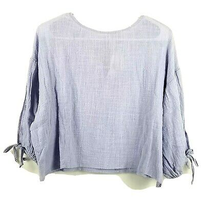 Favlux Fashion Shirt Womens Crop Top Size Smal Purple String Tied Sleeve Accent • 9.27£