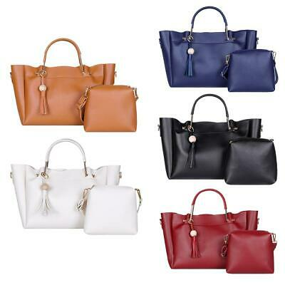 $ CDN26.06 • Buy 2pcs/set Pure Color Shoulder Handbags Women Tassel Crossbody Top-handle Bag $S1