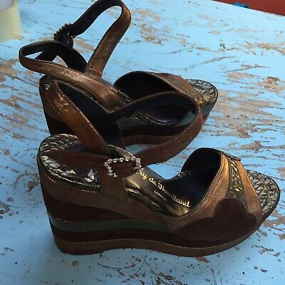 Terry De Havilland Gold And Brown Suede Vintage Platform Shoes Size 5 • 160£