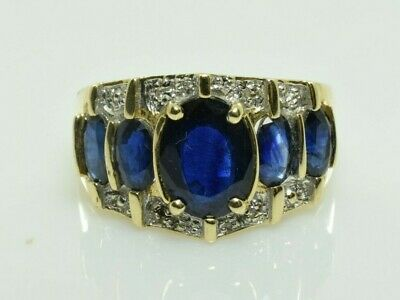 AU446.48 • Buy Vintage Sapphire And Diamond Ring In 10k Yellow Gold 3.22 Carats Size 6