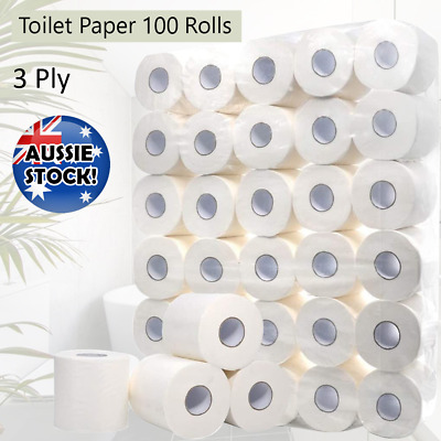 AU56.99 • Buy 100 Rolls Toilet Paper White Soft Roll 3 Ply Tissue Bathroom