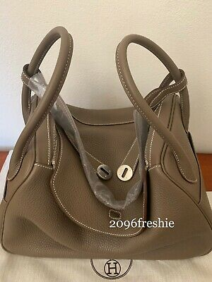 AU8500 • Buy Authentic Hermes Lindy 34 Etoupe Clemence Leather New With Original Receipt