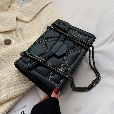 $ CDN28.32 • Buy Rivet Chain Crossbody Bags Women Pu Leather Shoulder Bag Female Luxury Handbags