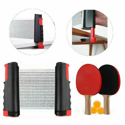 Table Tennis Set Ping Pong Kit Portable Retractable Net 2 Bats+ 3Ping Pong Balls • 9.99£
