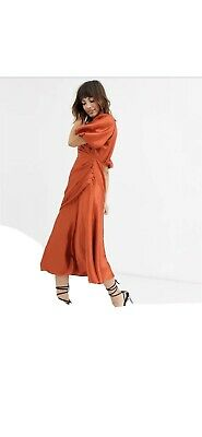 AU39.99 • Buy ASOS DESIGN Ruched Maxi Dress With Puff Sleeve In Satin SZ 12