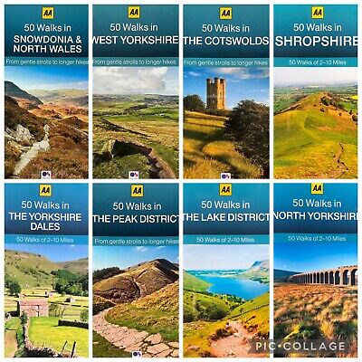 AA 50 Walks Cotswolds Peak Lake District Shropshire Yorkshire Snowdonia Guide  • 5.99£