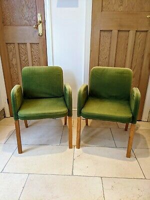 TWO Vintage 1999 IKEA EKHARD Chairs With Green Covers Mid Century Style X 2 • 15£