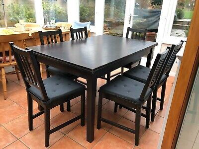 Extending Gangso Danish Black Dining Table And 6 Ikea Chairs With Cushions • 30£