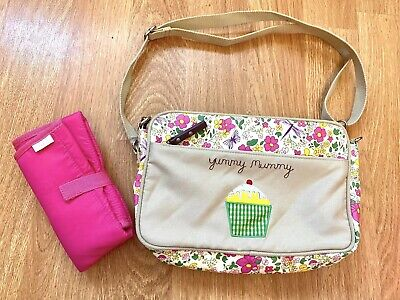 Yummy Mummy Mini Baby Changing Bag Pink Lining Cottage Garden Floral • 14.99£