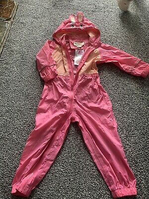 Regatta Puddle Suit All In One Waterproof Girls Pink 2-3 Years • 3.19£
