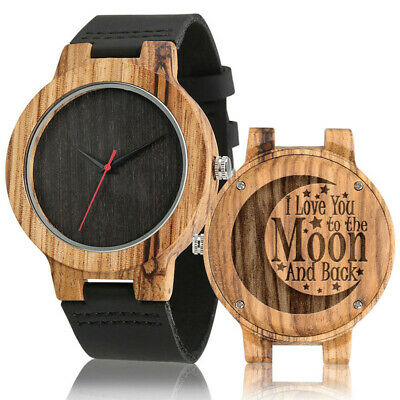 £10.59 • Buy Creative To My Son/Dad/Fiance/ Men's Nature Wood Quartz Watch Leather Strap Gift