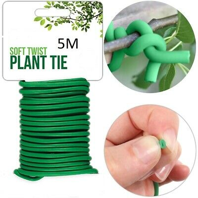 £2.99 • Buy 5 M Plant Twine Green Soft Flexible Bendy Garden Support Wire Cable Twist Tie