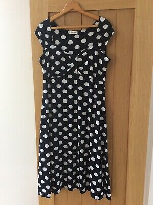Anonymous Ladies Navy White Polka Dot Dress Size 16 Fully Lined • 4£