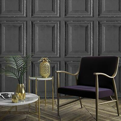 Wood Panelling Effect Wallpaper In Charcoal/Black • 25.97£