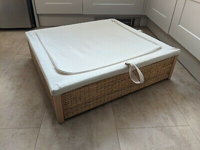 IKEA Römskog Wicker Rattan Under Bed Storage Chest With Cloth Cover - Never Used • 5£