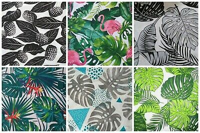 £3.50 • Buy 100% Cotton Palm Tropical Leaves Light Curtains Cushions By The Meter Fabric