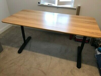 Office Desk With Black Metal Legs From Ikea. Excellent Condition. • 89£