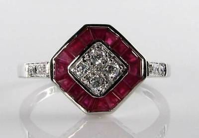 £289 • Buy Class 9k 9ct White Gold  Indian Ruby & Diamond Art Deco Ins Ring Free Resize