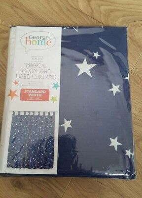 Stars Lined Curtains W66 X L54 Magical Moonlight Lined Curtains Tab Top  • 15.99£