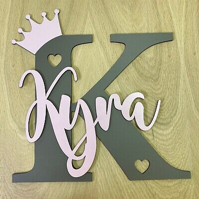 £7.99 • Buy Personalised Painted Wooden Letter With Crown And Name - ANY COLOUR And Letter