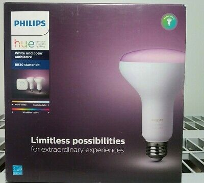 AU143.47 • Buy NEW Philips Hue BR30 Starter Kit White And Color Ambiance (2 Bulbs 1 Bridge
