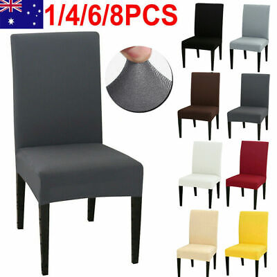 AU18.99 • Buy 1-8 PCS Dining Chair Covers Spandex Cover Stretch Washable Wedding Banquet Party