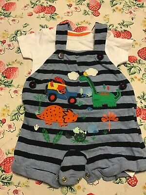 Blue Zoo Dungaree Dinosaur Set With T Shirt 0-3 Months • 1£