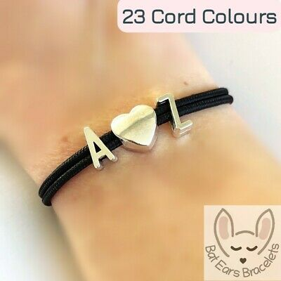 £4.25 • Buy Letter Bracelet - Your Choice Two Initials With A Heart Charm Bracelet - Initial
