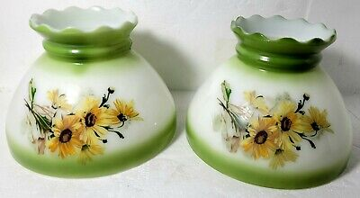 $49 • Buy Set Of 2 Hand Painted Black Eyed Susan Milk Glass GWTW Oil Lampshade 8  Fitter
