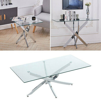 Rectangular Glass Dining Table/Coffee Table/End Table/Side Table With Chrome Leg • 79.95£