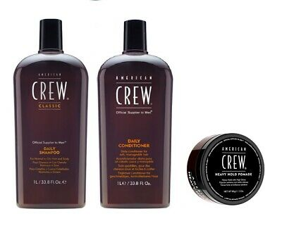 £41.99 • Buy American Crew Daily Shampoo 1000ml, Conditioner 1000ml And Heavy Hold Pomade 85g