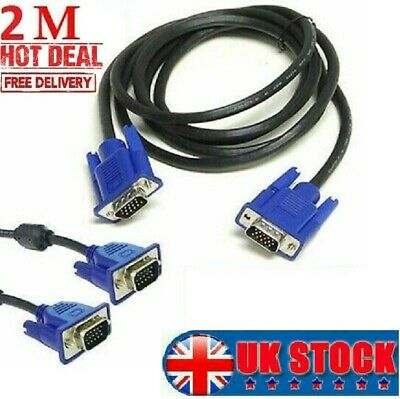 £4.15 • Buy 2 Meter VGA/SVGA 15 PIN MALE TO MALE PC MONITOR TV LCD PLASMA LED CABLE LEAD