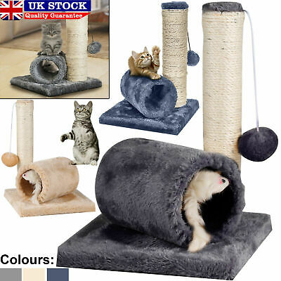 Cat Kitten Sisal Scratch Post Bed Toy With Tunnel & Mouse Pet Activity Play Fun • 8.65£