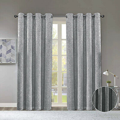 Thermal Grey Silver Shimmer Sparkle Stamped Blackout Eyelet/Ring Top Curtains  • 18.99£