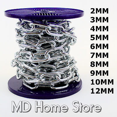 Strong Heavy Duty Steel Chain BZP Bright Zinc Plated Side Welded Security Links • 4.99£