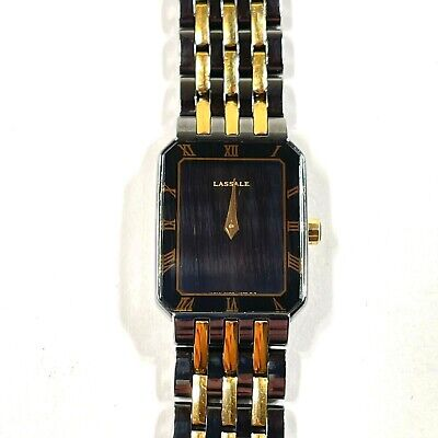 $ CDN63.34 • Buy Lassale By Seiko Womens Wrist Watch Black Gold Roman Numerals 17mm Rectangular