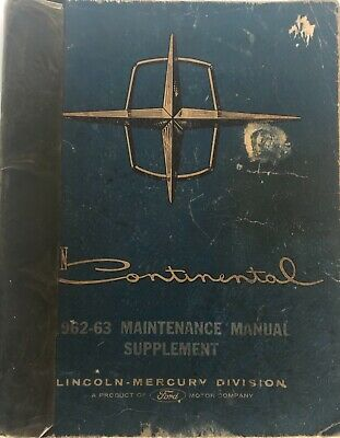 $8 • Buy Lincoln Continental 1962-63 Maintenance Manual, Supplement To 1961
