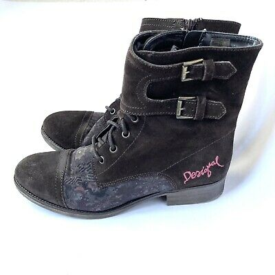 £24.71 • Buy Desigual 8 Booties Sz 39 Brown Suede Leather Embroidered Ankle Boots Lace Buckle