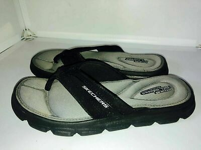 Skechers Junior Post Toe Flip Flops Size 1.5/34 Black Gel-Infused Memory Foam • 13.90£