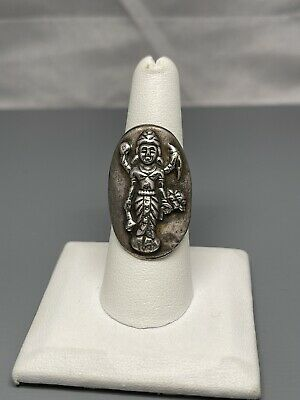 £47.08 • Buy Vintage Buddha Ring Sterling Silver Wight 6.9g Size 7.5