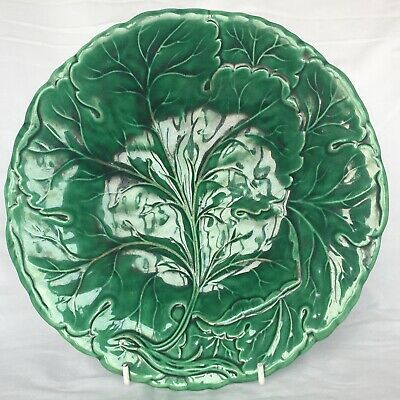 £15 • Buy Victorian Majolica Cabbage Leaf Plate 23cm (9in)