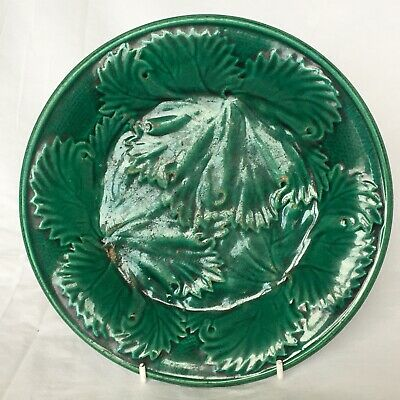 £20 • Buy Victorian Majolica Cabbage Leaf Plate 21cm (8.2in) #2